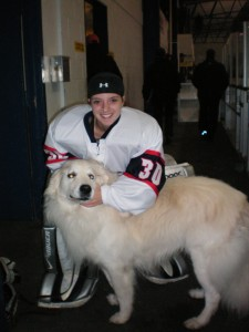 Goalie and her dog